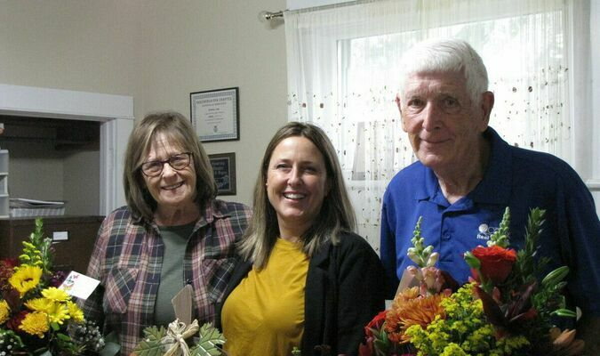 Nancy Lowe, Kim Kinder and Bob Jackson at Friday's open house in celebration of Lowe Realty's 35 years of service to the Dade County community. (Photo by James McNary)