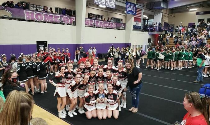 The Miller Cheerleaders attended their first ever regional cheer competition at Avila University over the weekend. The squad achieved a third place finish, earning them a spot to compete at state. The team is coached by Emily Paul Krase. (Submitted photo)