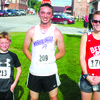 5K winners, left to right: Jack Grant, 1st place, Under 12 Male; Chase Burgess, Lamar, 1st place 5K Men; and Jill Scheidt, Greenfield, 1st place, 5K Women.?Not pictured: Adrien Neill, 10, 1st place, Under 12 Female.