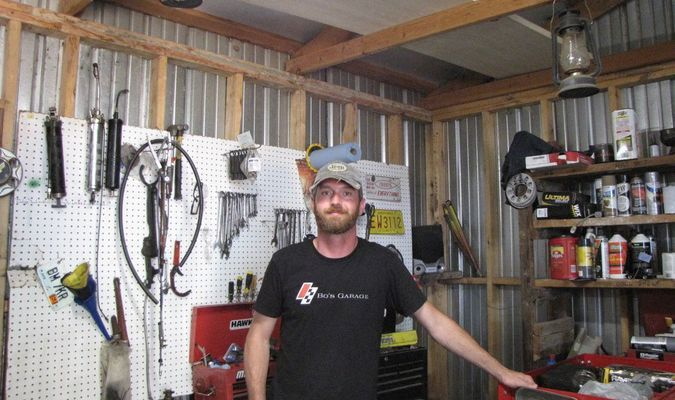 Bo Byers stands in his shop northeast of Greenfield, north of U.S. 160 just off State Highway CC. Top, left: Byers encourages his customers to take advantage of the drop off service he