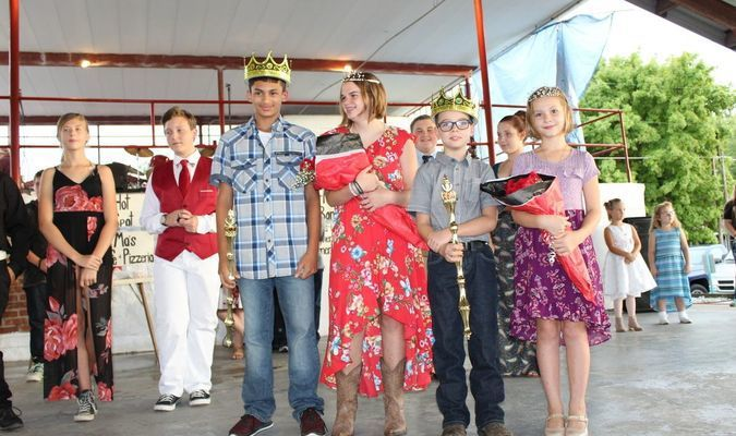 Festival King and Queen, Saige Colley and Delaney Edwards, represent their 8th grade class. Junior King and Queen,  William Towe and Abby Spaulding, represent their 4th grade class.