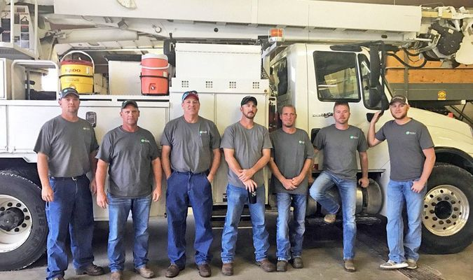 Above, linemen from Ozark Electric Cooperative are assisting sister co-ops in Florida to recover following the destruction left by Hurricane Michael: (from left)J.R. Bowen, Justin Rock, Win Osterloh, Jacob Jones, Nick Shiveley, Craig Rice, and Corey Baker. (Photo courtesy Ozark Electric)