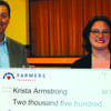 Mark Pickens, left, of Farmers Insurance, Springfield, presents the grant check to Krista Armstrong.