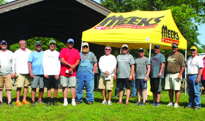Winning teams and total weights: Left to right: Robert Shackleford, Greg Blair, 11.48 lbs.; David Calhoun, Gary Cotter, 11.76 lbs; Jimmy Dopp, Harlin Huskey, 12.06 lbs.; Rusty Gill, Hunter Gill, 12.11 lbs.; Mike Dill, Sherman Wilkinson, 12.18 lbs.; Bett Pinion, Ray Greek, 12.20 lbs.; Don Gardner, Rob Edwards, 12.33 lbs.; Rick Geujen, Mike Savage, 12.38 lbs.; Terry McClelland, Austin Wood, 13.70 lbs.; Gary Braden, Jr., Matt Funderburk, 2nd place Big Bass at 6.93 lbs.; and Leslie Brandenberg, Jamie Loveal, 1st place Big Bass at 7.88 lbs. and 1st place total weight, 17.15 lbs.