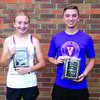 5-K overall female winner, Brylee Wilson of Exeter and 5-K overall male winner, Chase Burgess of Lamar.