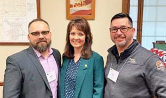 State Representative Ann Kelley was visited  at the capitol Feb. 12 by Lockwood City Clerk Chad Boehne and Lockwood Alderman Kenny Snider. (Photo Courtesy Office of Rep. Ann Kelley)