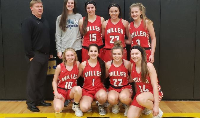 The Miller girls beat Pleasant Hope to end an undefeated Southwest Conference championship. It is the Lady Cardinal's first conference basketball title since now coach Hannah Wilkerson was a senior. Pictured above are (back row) assistant coach Jamie LaSalle, Ashten Kingsle, Bethany Gulick, Kaylee Helton and Jessica Epps; (front row) Kenzie Lewis, Claudia Hadlock, Shaelyn Clark and Payten Richardson. (Submitted photo)