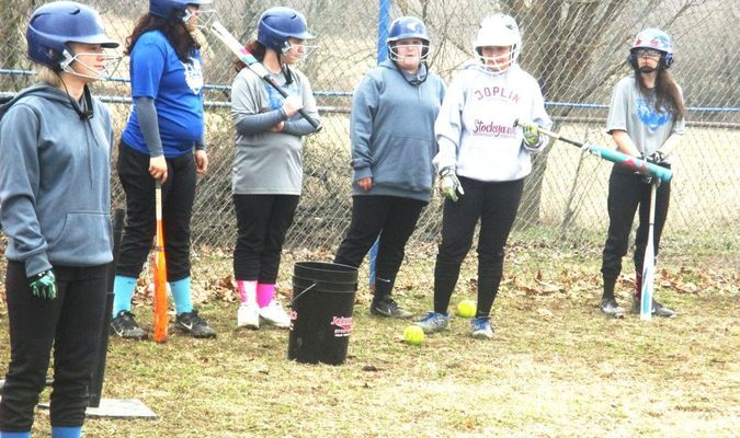 Greenfield Lady Wildcat softball practice