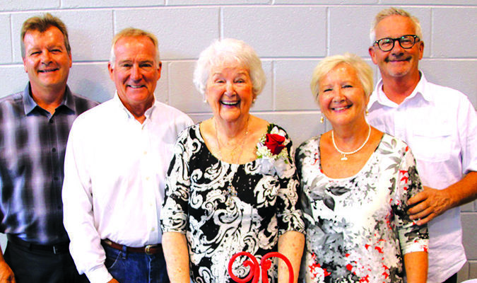 Left to right: Bob Hayes, Randy Hayes, Bea Hayes Roncovitts, Margaret Hayes Kerr and Roger Hayes.