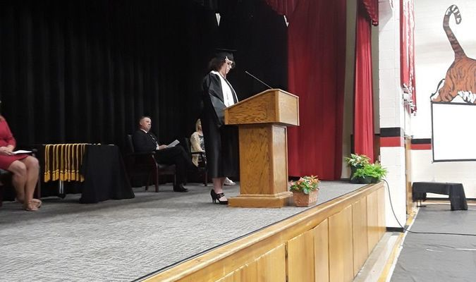 Valedictorian Megan Bates gives the traditional valedictorian speech to her classmates wishing them to follow their dreams and reach for success in whatever path they choose.