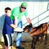 Clayton Hawks bottle feeds a calf.