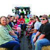 Group enjoys the hay ride.