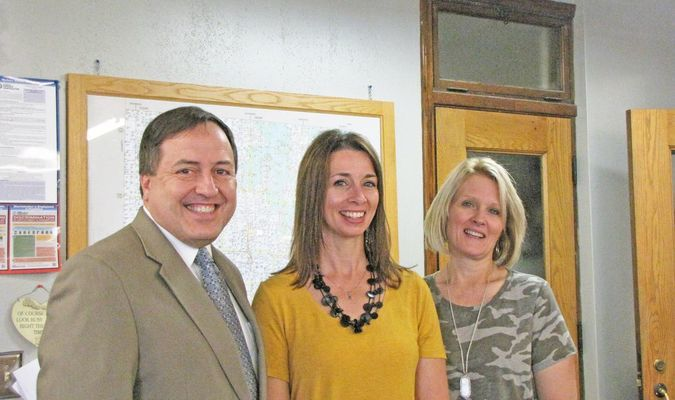Missouri Secretary of State Jay Ashcroft visited the Dade County Clerk's office on July 9.  Shown here with Ashcroft are Asst. Clerk Mindy Lollar and Lisa Julian. County Clerk Melinda Wright is not pictured. (Photo by James McNary)