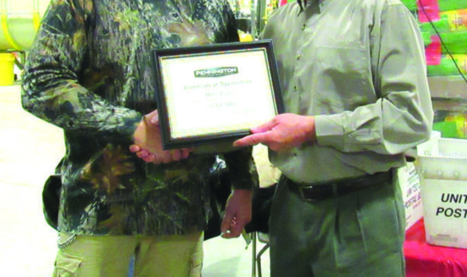 Mike Esper, left,  received his service award for 30 years