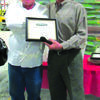 Charles Hickey, left, received his service award for 35 years.