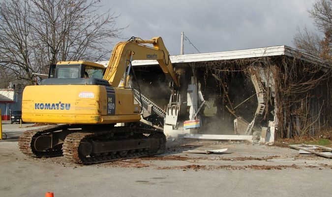 The MFA Station building coming down