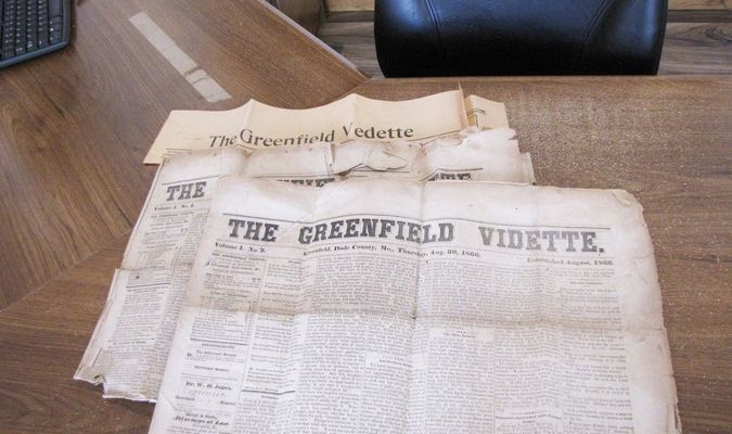 The Greenfield Vidette, Volume 1, Nos.1 and 2 from Aug. 1866, donated by a history enthusiast. (Photo by James McNary)