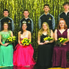 Front row:  ( l to r) Crown bearer, Joe Graf; freshman, Alexis Goodman; sophomore, Queen Macey Sappington; senior, Marley Brannon; junior, Alicia Bowman; and flower girl, Macy Kelly.  Back row: ( l to r) Clint McGill, Matthew Huchteman, Jarrett Sappington, and Branden Powell. Photos sent in by Lou Ann Sappington.