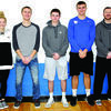 Greenfield Wildcats, Taylor Burns, Marcus Wright, Mason Jones, Colin White and Coach Preston Hyde, received post season basketball honors. Photo by Cletis McConnell, Vedette Reporter.