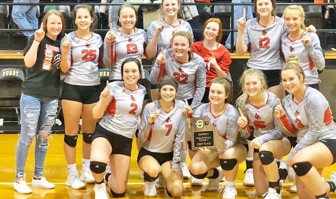 The Miller Lady Cardinals defeated both Verona and Wheaton in two sets each to claim the Class 1, District 8 Title. Front row, Jazmin McElroy, Audrey Barnes, Sydney Clark, Jessica Epps and Taylor Belcher. Back row, Alyssa Hill, Claudia Hadlock, Kaylee Helton, Ashten Kingsley, Alli Mitchell, Addison Stockton, Emberlynn Kingsley and Haylie Schnake. (Photo by Dalene Mitchell)