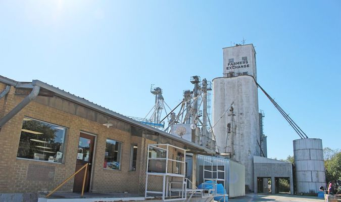 The grain elevator at Lockwood Farmers Exchange, visible for miles in the countryside, was completed in 1957, with further additions made later. The retail and warehouse facility, with office space, was constructed in 1961, funded by local contributions. (Photos by James McNary)