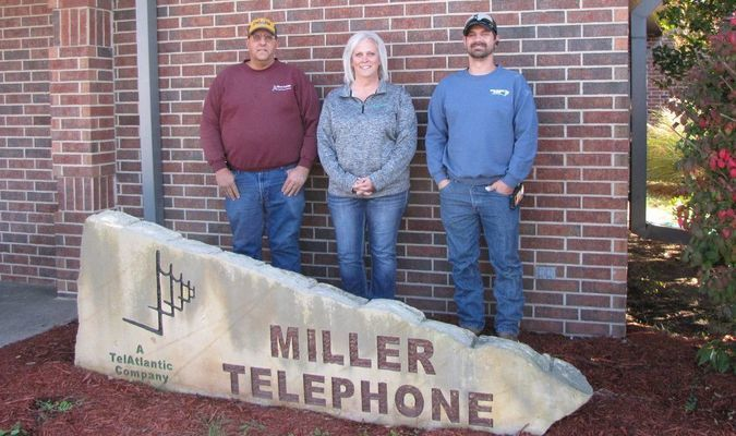 David Rose, general manager, Darlis Gulick, customer service, and Dustin Rose, combined technician, are the staff of today's Miller Telephone Company. Not pictured is Leanne Williams, customer service. (Photo by James McNary)