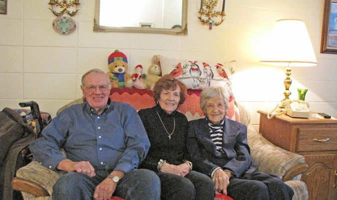 Helen Rotrock, right, recently turned 104 years old. She is pictured here with daughter, Jennetta Blackmore, and son-in-law, Bob Blakemore, of rural Greenfield. (Photo by James McNary)