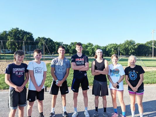 Left to right: Payton Farmer-9, Brayden Garver-9, Reid Goodman-11, Luke Bushey-10, Bailey McGill-11, Libby Lakey-10, Ellie Mitchell-10. Coach is Dr. Matt Bushey.