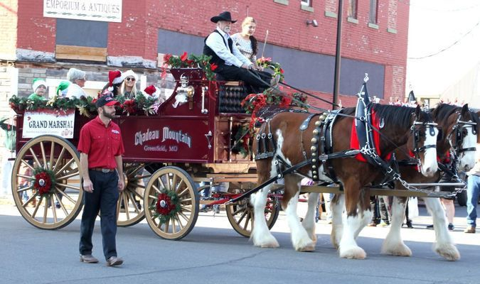 Chadeau Mountain Clydesdales provided the transportation for Greenfield Grand Marshal, Babette Terhune.