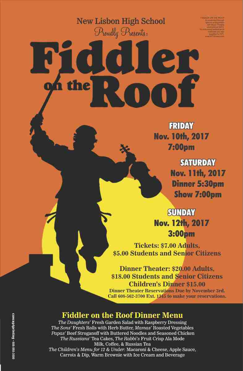 U201cA Fiddler On The Roof! Sounds Crazy No?u201d But On The Roof Of Tevyeu0027s House  On The New Lisbon High School Stage Is That Fiddler U201cscratching Out A  Pleasant ...
