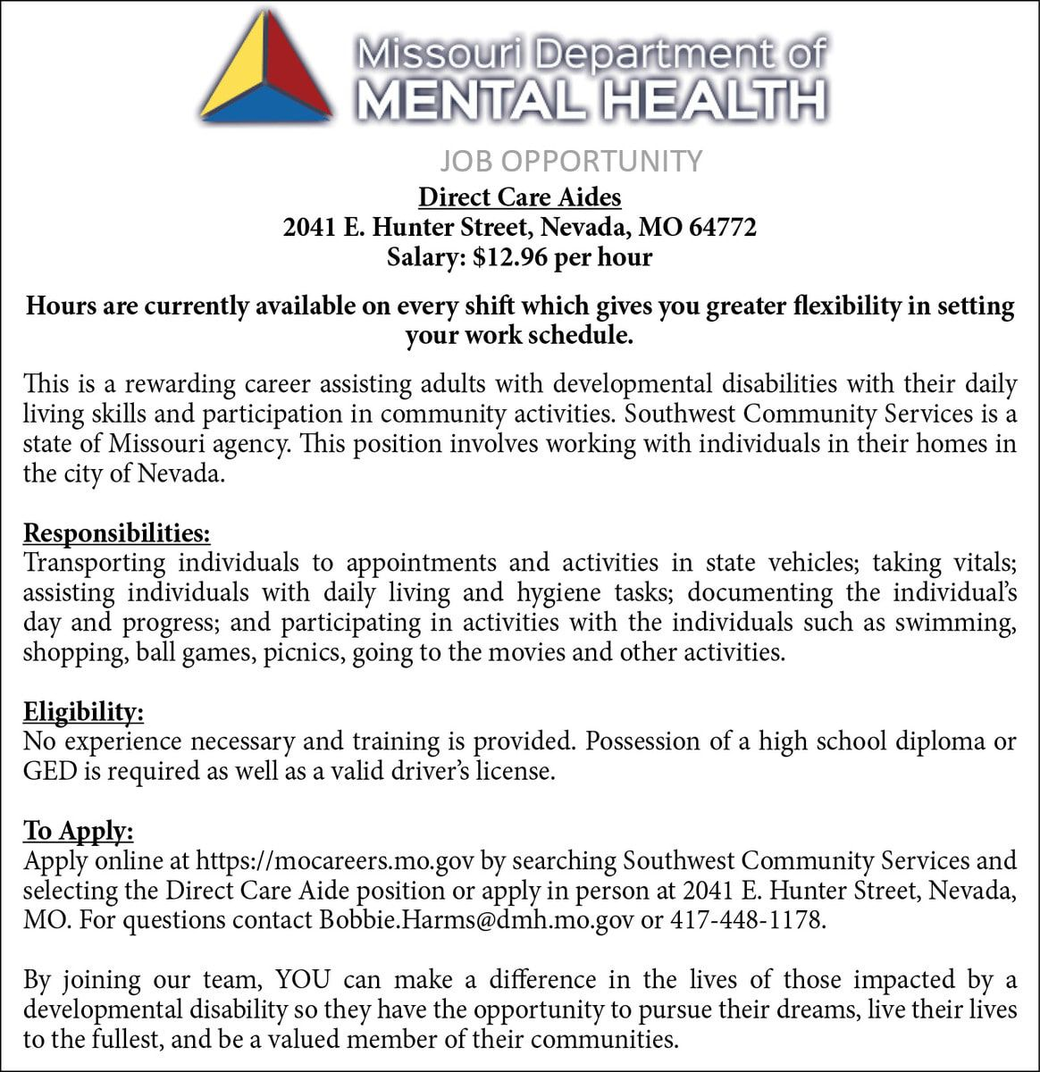 7-7,14,21 & 28 SW Community Services-Direct Care Aides-3x5.5