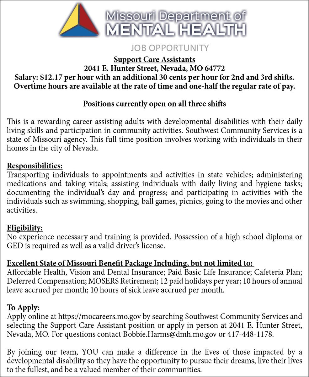 7-7,14,21 & 28 SW Community Services-Support Care Assistants-3x6.5