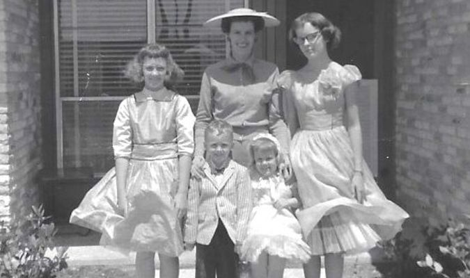 Pictured in front of their home in Richardson, Texas in 1960, prior to attending Easter Sunday services, were Cindy Tanner, Joanne Metzger and Candy Metzger, back row, and Martin (McCall) Metzger and Melody Metzger.