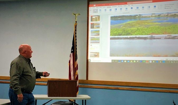Lamar Democrat/Autumn Shelton Bo Higgins from Advanced Microbial Solutions discusses Lamar's options for removing its sludge in the lagoon.