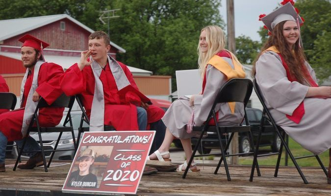 The Liberal High School Class of 2020 was treated to a well attended parade through town following Friday's commencement exercises held at the Shiloh School House on the high school campus. The community turned out in large numbers to support the students, whose regular graduation ceremony was not feasible at this time due to COVID-19 concerns. Shown here, from left, are Aidyn Rogers, Kyler Duncan, Taylor Ray and Sierra McCuistion.