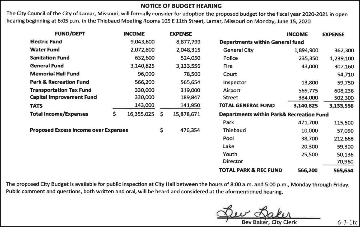 2020: 6-3 City Of Lamar-Budget Hearing