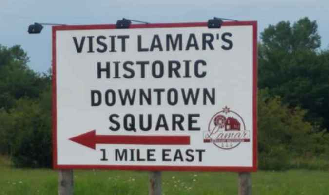 Rocky Owen with Preferred Signs recently spruced up a very attractive welcome sign at the t-intersection coming out of Walmart and on to Hwy. 160, directing individuals to Lamar's historical downtown area. Lamar Community Betterment had decided earlier in the year to have Owen revamp this sign, as well as the one directing individuals to the downtown area that is situated at the corner of 12th and Gulf streets.