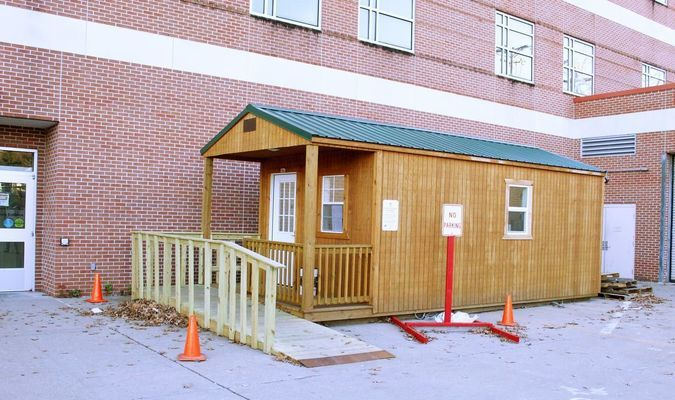 COVID-19 testing is done offsite in this portable building located on the north side of the hospital.
