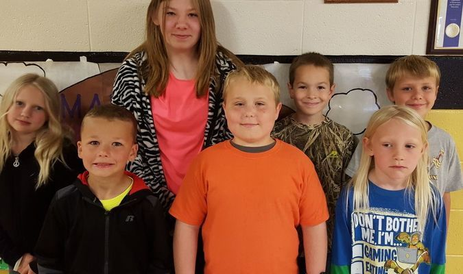 April Golden City Elementary Students of the Month were, back row, left to right, Rori Forste, Madison Pennington, Preston Defratus and Hayden Anderson; front row, left to right, Brendon Maneval, Brandon Cargile and Bane Forste.