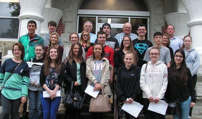 Barton County Commissioners Mike Davis, Dennis Wilson and Jeff Tucker met with the Youth EXCEL students on April 11, as they entered the Barton County Courthouse to learn about how the county conducts business. Students in the Youth EXCEL program include Camren Beam, Sierra Brooks, Katelyn Collins, Ashlee Cotez, Brooklyn Davey, Wyatt Davis, Ashley Dobb, Brandon Driggs, Macie Graves, Dalton Hasson, Caleb Jeffries, Mariam Kavtaradze, Shelby Kirkpatrick, Hanna Lee, Shea Lewis, Ellie Lodenstein, Tasha Maldonado, Allison Morris, Alex Oden, Emily Ogle, Chance Rea, Sam Timmons, Delia Unhuryan and Dylan Whitehead.