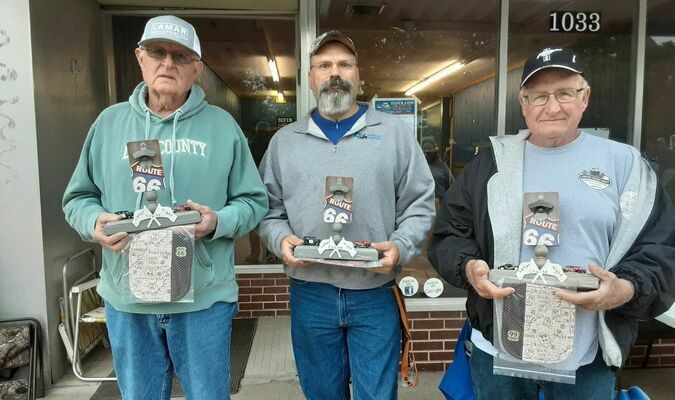The top three cruise winners Friday evening, May 7, were, left to right, Jim O'Neal, Terry Swallow and David Banwart.