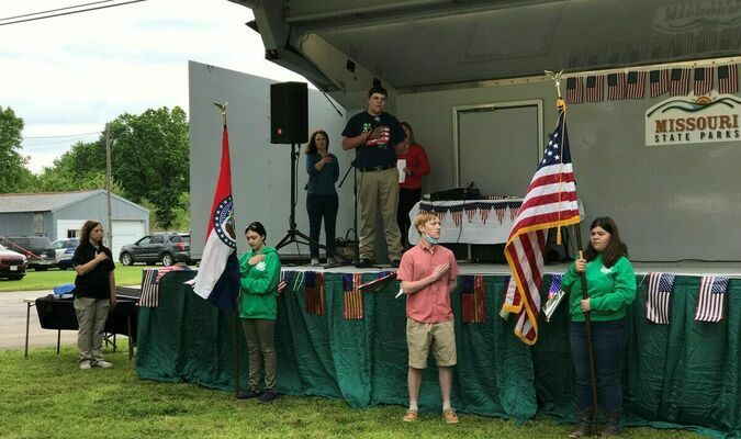 The Barton County 4-H Teen Leaders were honored to be a part of the Truman Day celebration on Saturday, May 8, as the 137th birthday of President Harry S Truman was observed. During the opening ceremonies, Kitty Sullins and Joy Krueth displayed the Missouri State Flag and the American Flag, in honor of the country. Andrew Shelton led those present in the Pledge of Allegiance and in closing, Kendall Krueth sang the National Anthem. The 4-H youth were proud to be a part of this historic day.