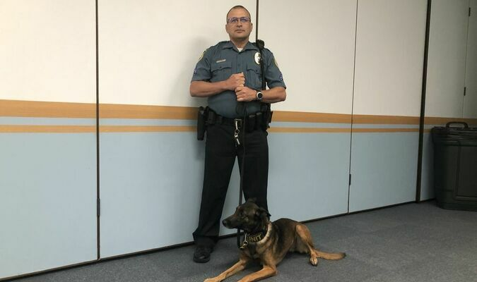 Lamar Democrat/Autumn Shelton K-9 Handler Toby Luce is pictured here with new K-9 Tosca, who is taking over the role from the recently retired Hondo.