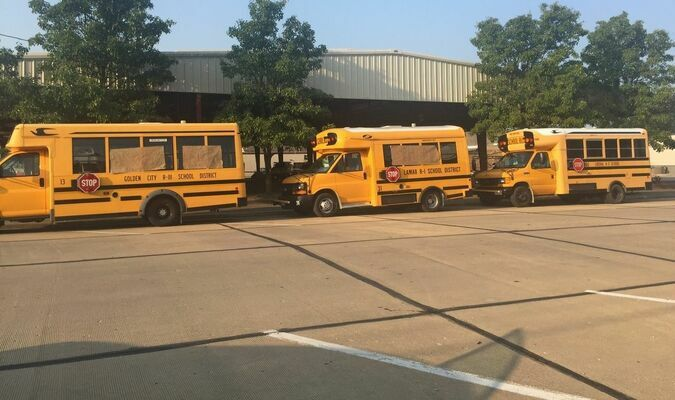 Lamar Democrat/Melody Metzger Lamar Community Betterment will continue to collect school supplies and monetary donations to go towards Lamar, Golden City and Liberal schools through 5 p.m. today (Friday, July 23), underneath Moore Pavilion. Buses from the various schools are set up and items suggested for donation include notebooks, paper, folders, pencils, ink pens, markers, highlighters, glue, scissors, pencil boxes, backpacks or any other school supplies. Personal care options, including kleenex, Clorex wipes and hand sanitizer would also be appreciated. 4-H and AOK youth are assisting Lamar Community Betterment in this endeavor. Be sure to take time to stop by as students from these schools will benefit from the generous donations received.