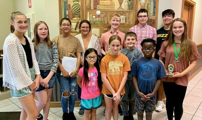 The City Clovers 4-H Club held its first meeting of the year on September 19, at the Wolf Center. Club members selected Move Across Missouri and International Foods as their club projects. In addition, new officers were elected for the 2021-2022 4-H year. Pictured, left to right, are the new City Clovers 4-H Club officers, back row, Lilly King, historian/photographer; Sadie Bull, historian/photographer; Kileigh Ball, reporter; Ashlynn Ball, co-vice-president; Andrew Shelton, co-vice-president; Trey Shaw, treasurer and Ryan Davis, president; front row, Eden Clements, games leader; Mattison Achey, games leader; Vance Bull, historian/photographer; Elijah Clements, games leader and Brenna Morey, secretary.