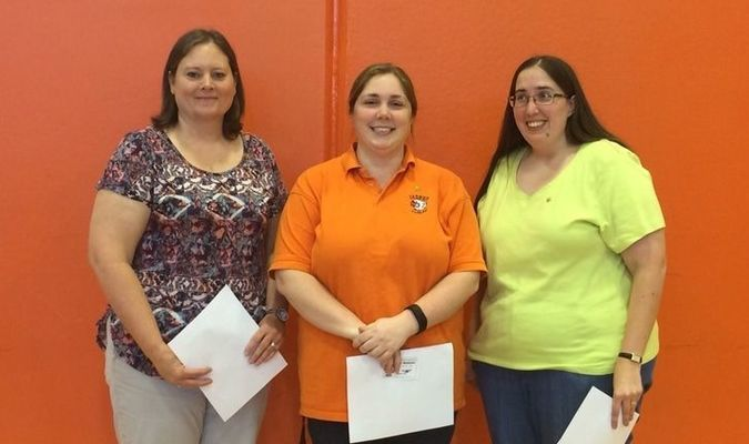 April Staff of the Month at Jasper Elementary School were, left to right, Angela Mooney, Stacy Pope and Jennifer Baldwin. Not pictured is Ronda Probert.