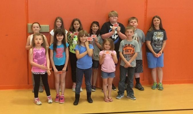 Students of the Month for April at Jasper Elementary School were, back row, left to right, Ella, Jaelyn, Makenna, Miranda, Grayson, Austin, Julia; front row, Daysee, Arianna, Brooke, Keyanna and Kyler.