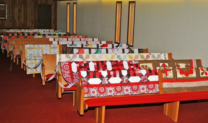 Photo by Sharon Wingert Many colorful quilts were displayed at the First Baptist Church during Golden Harvest Days.