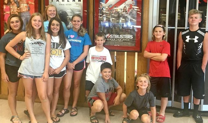 "The Lamar TigerSharks won the Second Place Team Trophy in the ""A"" Division of the Mickie Moback Swim Invitational in Pittsburg, Kan., during the weekend of July 16 and July 17. Several members of the team took a well-deserved break from the pool with a visit to the Pittsburg Mall after the conclusion of Saturday's events. Pictured (left to right): Mycah Reed, Emma Tennal, Macy Bean, Kaitlyn Davis, Meghan Watson, Aiden Sheat, Ryan Davis, Carson Sturgell, Cameron Sturgell and Zane Reavley."