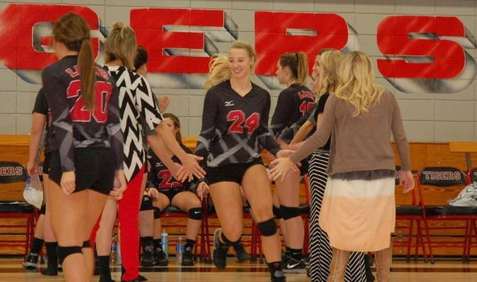 Lamar Democrat/Melody Metzger Lamar junior Katelyn Mooney (no. 24) took her place on the court following opening ceremonies prior to the Lamar Lady Tigers vs. Sarcoxie Lady Bears volleyball contest held Monday, Sept. 26.